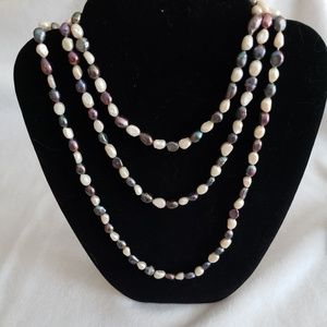50 inch black and white nugget pearl rope necklace